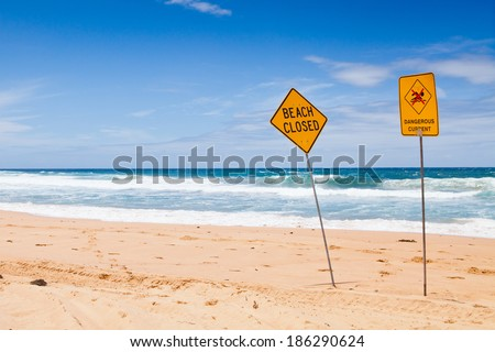 Warning no swimming sign, sydney Australia - stock photo