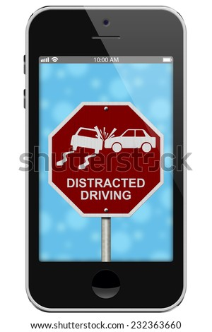 Warning of Distracted Driving, Mobile Phone Warning of Distracted Driving Sign isolated on a white background - stock photo