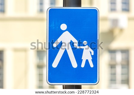 Warning Pedestrian With Children On Road Sign - stock photo