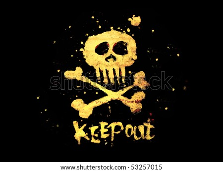 Warning pirate sign keep out with skull & bones isolated on a black background. - stock photo