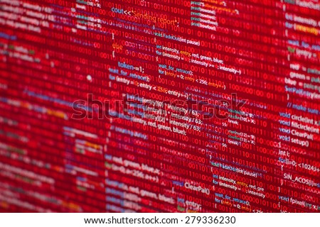 Warning red code listing  on software developer screen  - stock photo