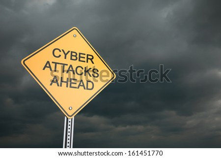 Warning road sign, Cyber Attacks Ahead  - stock photo