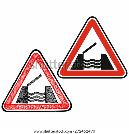 Warning road sign. Doodle style. Raster version