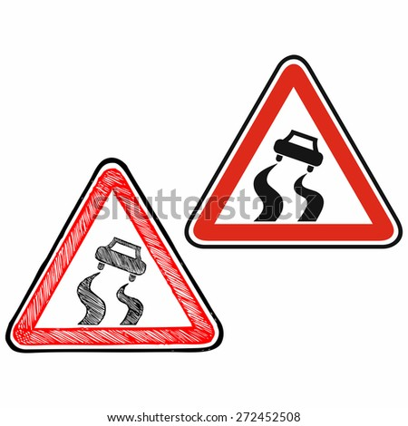 Warning road sign. Doodle style. Raster version - stock photo