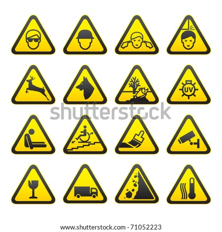 Warning Safety Signs Set. Bitmap copy my vector ID 61223860