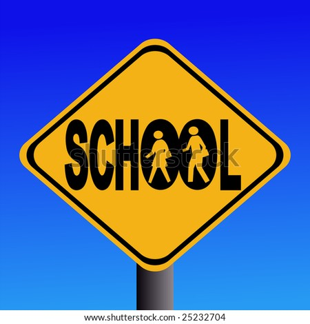 Warning school sign with children silhouettes illustration JPEG