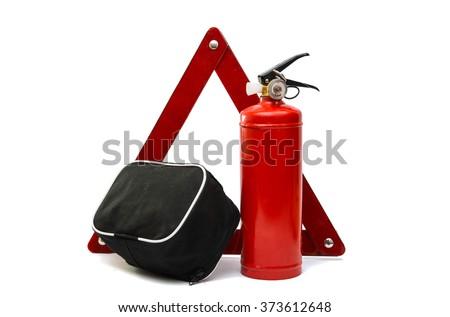 warning sign, a fire extinguisher, a medical bag on a white background - stock photo