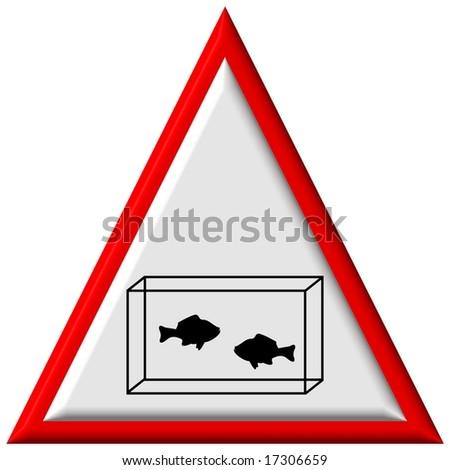 Warning sign - aquarium - stock photo