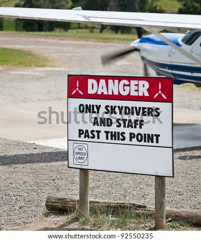 Warning sign at skydiving facility