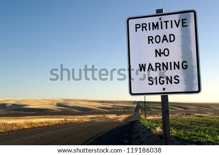 Warning sign for a primitive road.