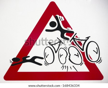 Warning sign for bike accidents - stock photo