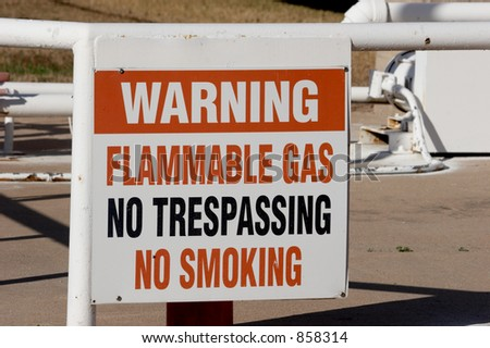 Warning sign for flammable gas