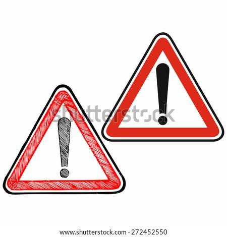Warning sign for general dangers. Warning sign. Raster version - stock photo