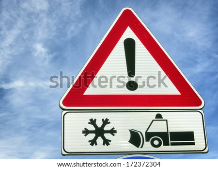 warning sign for snow plow
