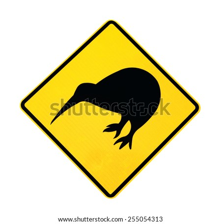 Warning Sign for the Kiwi bird, isolated with clipping path on white background