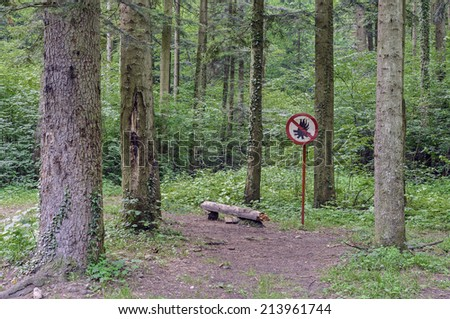Warning sign,  forbidden fire in forest - stock photo