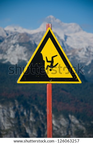 Warning sign in Alps