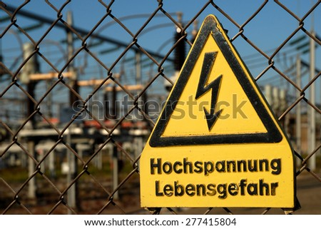 warning sign in german language - danger for life - stock photo