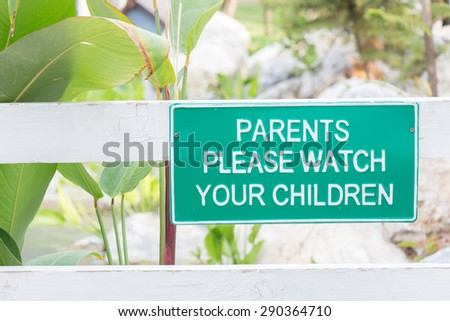 Warning sign in the park - stock photo