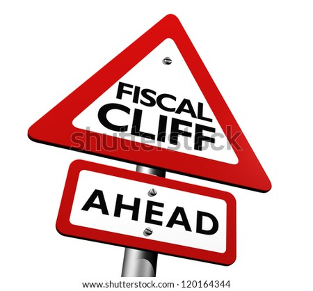 Warning sign indicating fiscal cliff ahead - stock photo