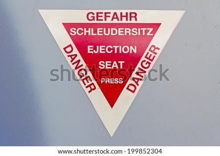 warning sign of aircraft - stock photo