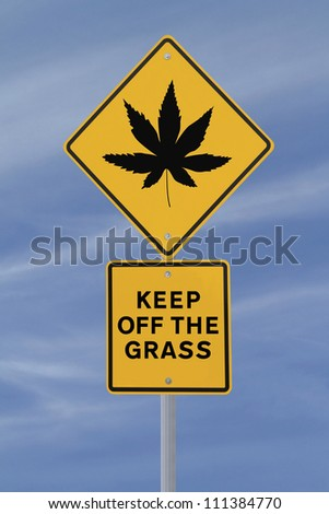 Warning sign on the use of marijuana (against a blue sky background)