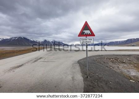 Warning sign polar bears, Spitsbergen, Svalbard, Norway - stock photo