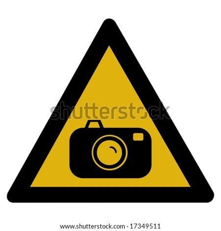 Warning sign - radar - stock photo