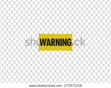 WARNING Sign Seamless Tileable Steel Chain Link Fence - stock photo