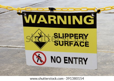Warning Sign: Slippery Surface, No Entry