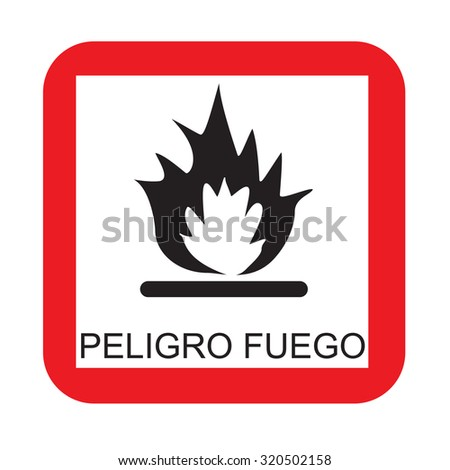 Warning sign with text in spanish fire risk raster isolated - stock photo