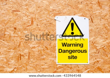 Warning signs for dangerous site, Conceptual image of builders