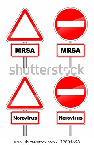 warning signs for MRSA and contagious norovirus