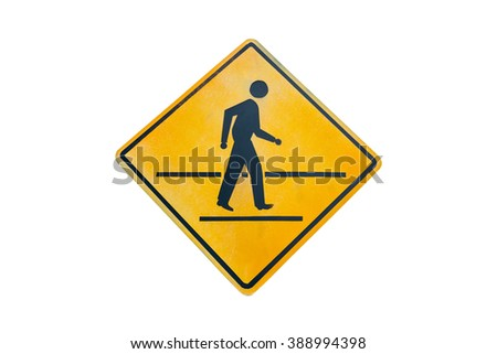 Warning traffic, Pedestrian traffic road sign isolated on white background. - stock photo
