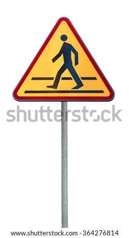Warning traffic Pedestrian traffic road sign on rod - stock photo