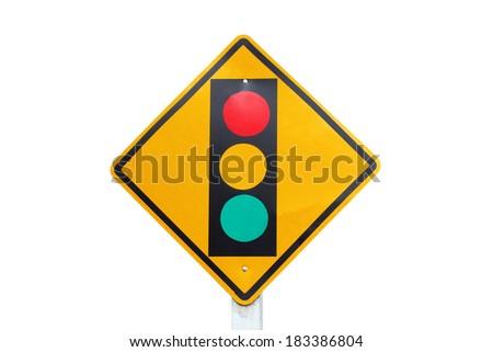 warning traffic sign  lights  on white background  - stock photo