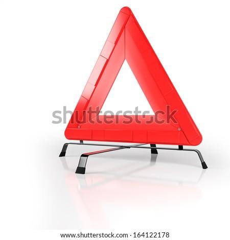 Warning triangle isolated on white with reflective background - stock photo