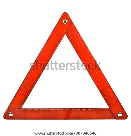 warning triangle on white background - stock photo