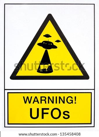 warning UFOs signal, in english language - stock photo