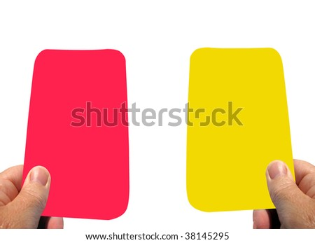 Warning yellow card and red card your sent off - stock photo