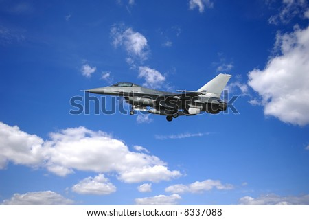 warplane is flying in blu and cloudy sky