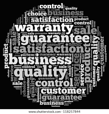 Warranty info-text graphics and arrangement concept on white background (word cloud)