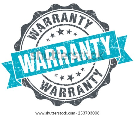 warranty vintage turquoise seal isolated on white - stock photo