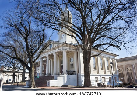 Warrenton Courthouse in wintertime against a blue sky, Fauquier County, Warrenton, Virginia - stock photo