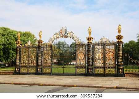 WARRINGTON, UK - AUGUST 23, 2015: Gates to Warrington Town Hall, Cheshire, England. The Town Hall, flanked by two detached service wings at right angles to the house, is a Grade I listed building - stock photo