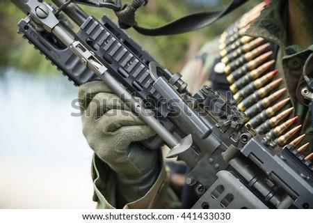 warrior and gun - stock photo