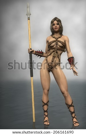 warrior girl with spear