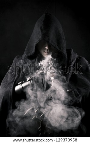 warrior in abstract smoke