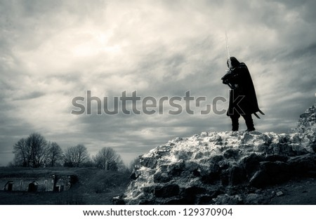 warrior in forgotten place - stock photo