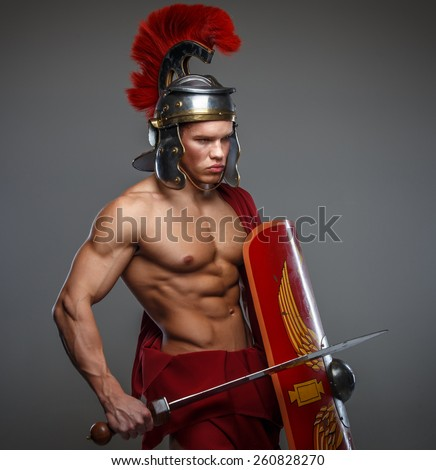 Warrior of Rome with sword and shield.